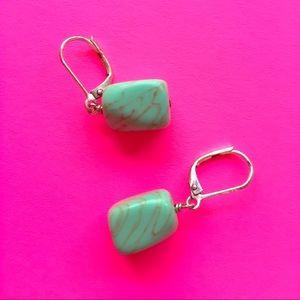 Jewelry - Jade Sterling Silver Drop Earrings Super cute
